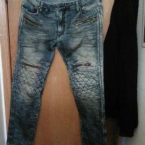 """Robin's Jean """"Racer"""" pants in 4D dark wash"""